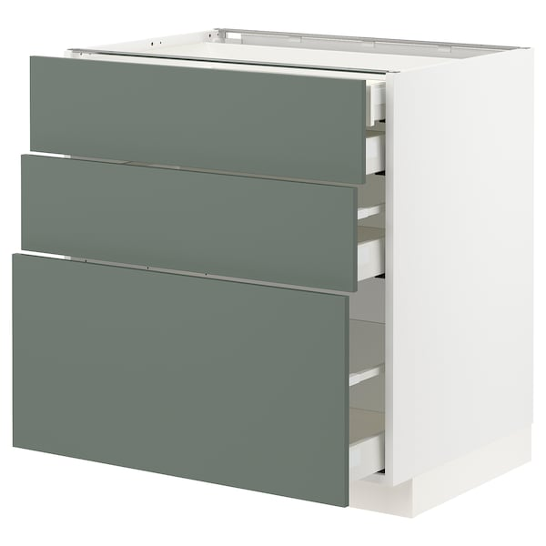 METOD / MAXIMERA Alsószekr 3elap/2al/1k/1mfiók, fehér/Bodarp szürke-zöld, 80x60 cm
