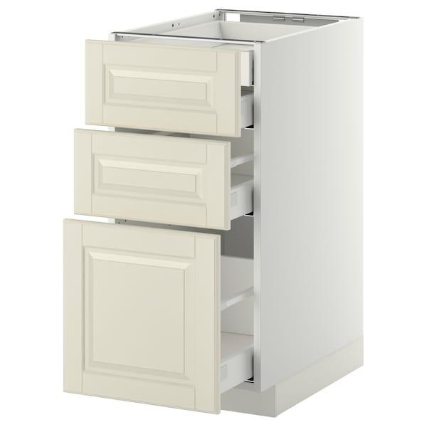 METOD / MAXIMERA Alsószekr 3elap/2al/1k/1mfiók, fehér/Bodbyn törtfehér, 40x60 cm