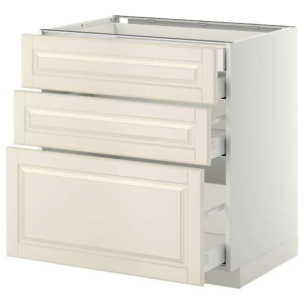 METOD / MAXIMERA Alsószekr 3elap/2al/1k/1mfiók, fehér/Bodbyn törtfehér, 80x60 cm