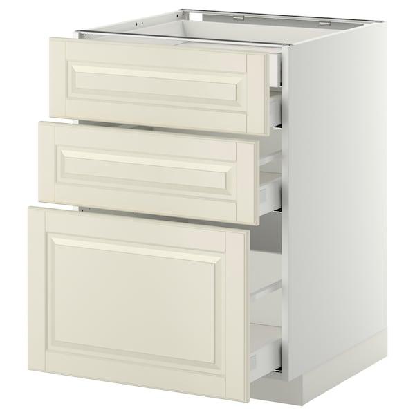 METOD / MAXIMERA Alsószekr 3elap/2al/1k/1mfiók, fehér/Bodbyn törtfehér, 60x60 cm