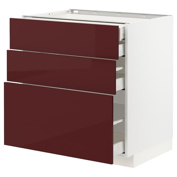 METOD / MAXIMERA Alsószekr 3elap/2al/1k/1mfiók, fehér Kallarp/mfényű sötét vörösesbarna, 80x60 cm