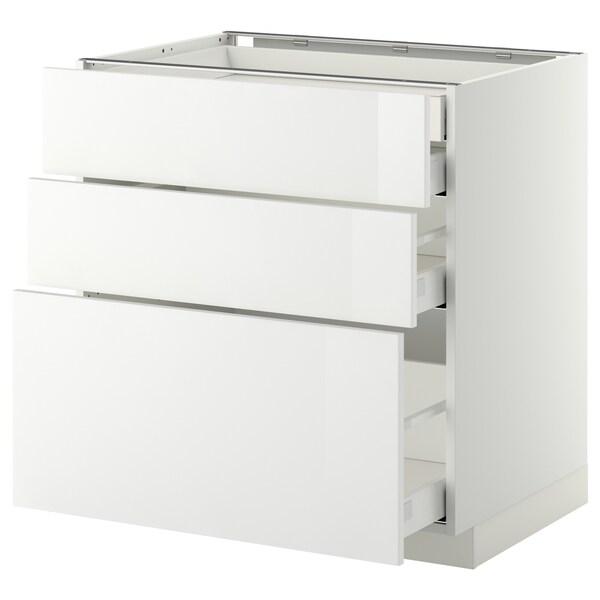 METOD / MAXIMERA Alsószekr 3elap/2al/1k/1mfiók, fehér/Ringhult fehér, 80x60 cm