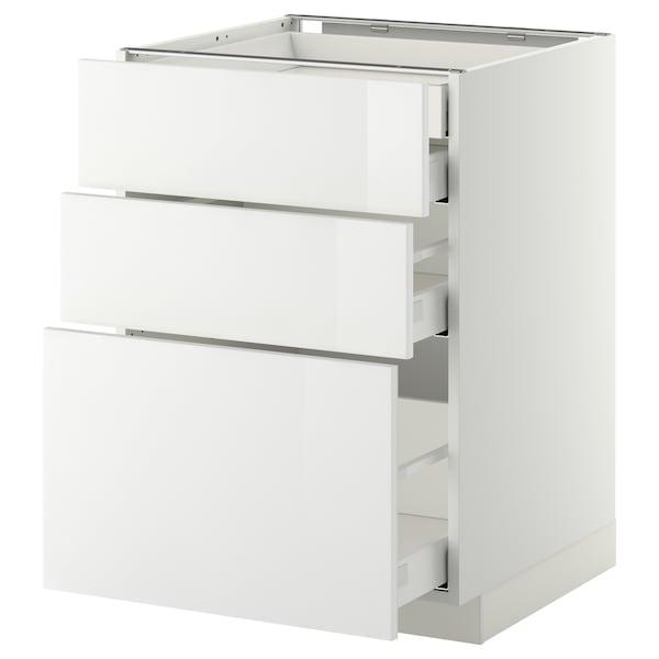 METOD / MAXIMERA Alsószekr 3elap/2al/1k/1mfiók, fehér/Ringhult fehér, 60x60 cm