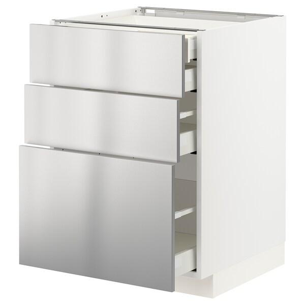METOD / MAXIMERA Alsószekr 3elap/2al/1k/1mfiók, fehér/Vårsta rozsdamentes, 60x60 cm