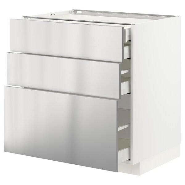 METOD / MAXIMERA Alsószekr 3elap/2al/1k/1mfiók, fehér/Vårsta rozsdamentes, 80x60 cm
