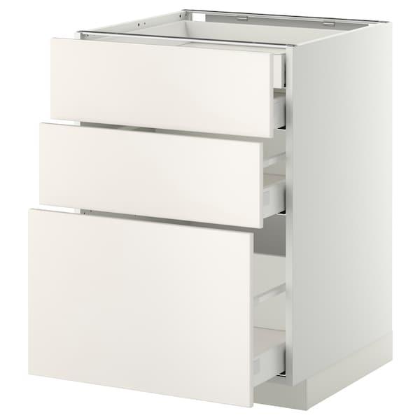 METOD / MAXIMERA Alsószekr 3elap/2al/1k/1mfiók, fehér/Veddinge fehér, 60x60 cm