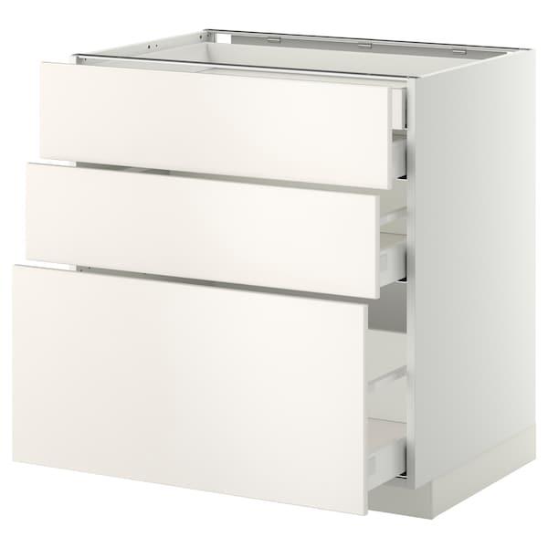 METOD / MAXIMERA Alsószekr 3elap/2al/1k/1mfiók, fehér/Veddinge fehér, 80x60 cm