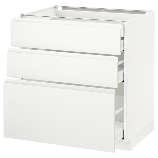 METOD / MAXIMERA Alsószekr 3elap/2al/1k/1mfiók, fehér/Voxtorp matt fehér, 80x60 cm