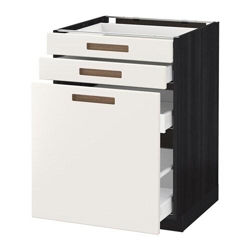 METOD / MAXIMERA Alsószekr kihúzható tároló/2előlap - fa hat. fekete, Märsta fehér, 60x60 cm - IKEA