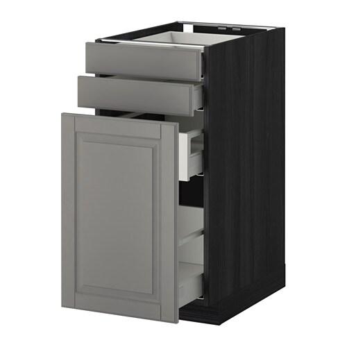 METOD / MAXIMERA Alsószekr kihúzható tároló/2előlap - Bodbyn szürke, fa hat. fekete, 40x60 cm - IKEA