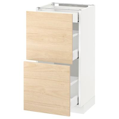 METOD / MAXIMERA Alsószekrény 2 előlappal/3 fiókkal, fehér/Askersund világoskőris hatású, 40x37 cm