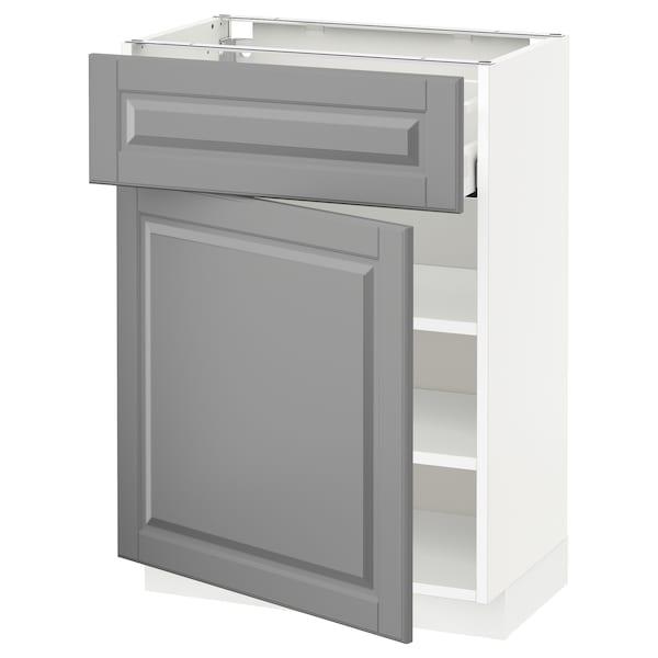 METOD / MAXIMERA Alsószekrény+fiók/ajtó, fehér/Bodbyn szürke, 60x37 cm