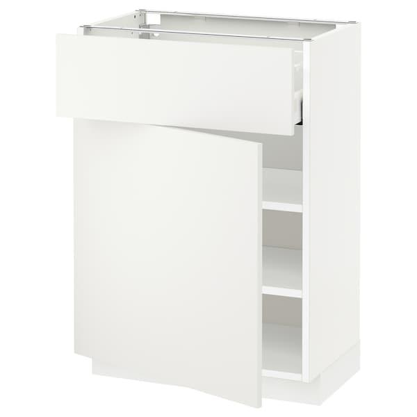 METOD / MAXIMERA Alsószekrény+fiók/ajtó, fehér/Häggeby fehér, 60x37 cm