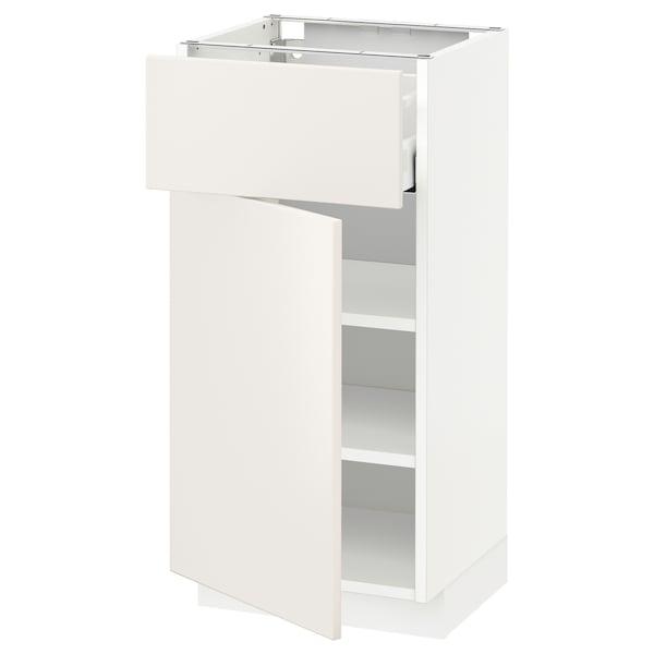 METOD / MAXIMERA Alsószekrény+fiók/ajtó, fehér/Veddinge fehér, 40x37 cm