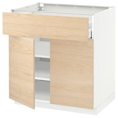 METOD / MAXIMERA Alsószekrény fiókkal/2 ajtóval, fehér/Askersund világoskőris hatású, 80x60 cm