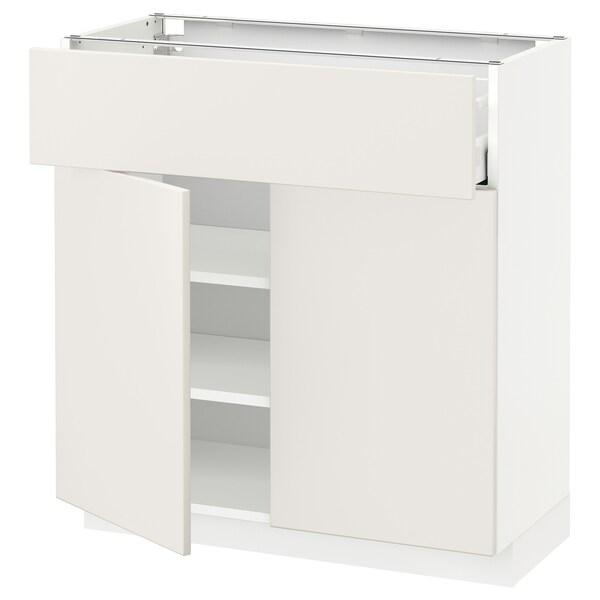 METOD / MAXIMERA Alsószekrény fiókkal/2 ajtóval, fehér/Veddinge fehér, 80x37 cm