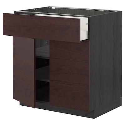 METOD / MAXIMERA Alsószekrény, fiókkal/2ajtóval, fekete Askersund/sötétbarna kőris hatású, 80x60 cm