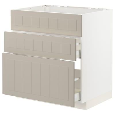 METOD / MAXIMERA Alsószekrény mosgh/3 előlap/2 fiók, fehér/Stensund bézs, 80x60 cm
