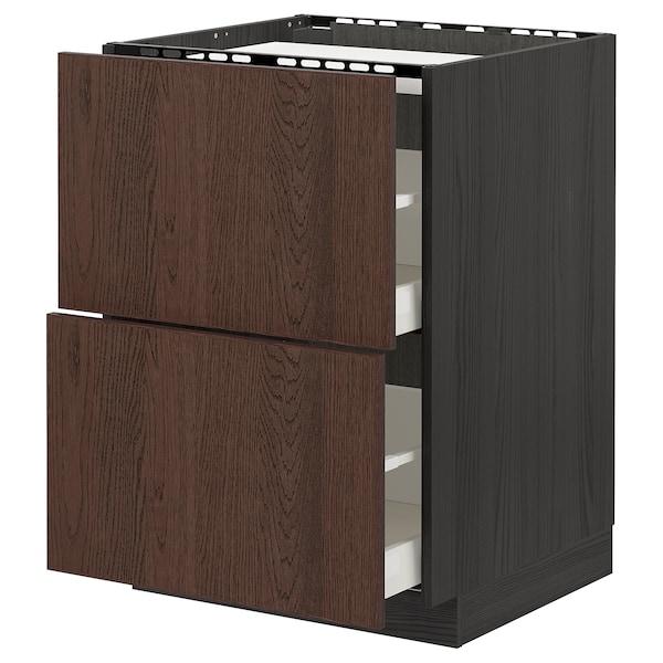 METOD / MAXIMERA Alsószekrény tűzhelyh+2előlap+2fiók, fekete/Sinarp barna, 60x60 cm