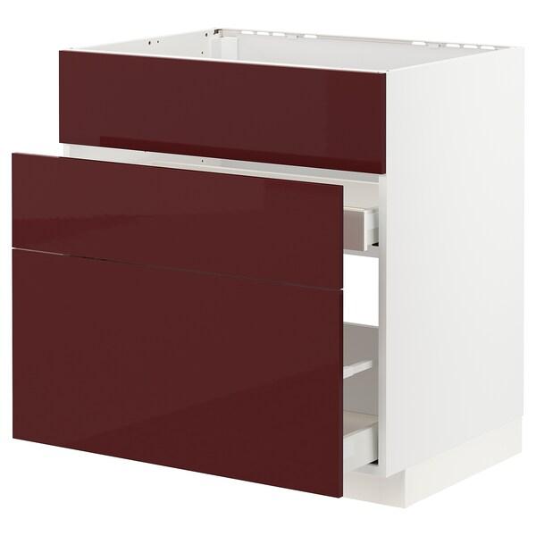 METOD / MAXIMERA Aszekr msgh/3 előlap/2fiók, fehér Kallarp/mfényű sötét vörösesbarna, 80x60 cm