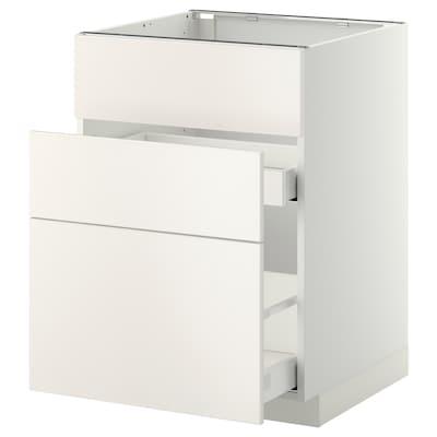 METOD / MAXIMERA Aszekr msgh/3 előlap/2fiók, fehér/Veddinge fehér, 60x60 cm