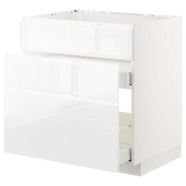 METOD / MAXIMERA Aszekr msgh/3 előlap/2fiók, fehér/Voxtorp mfényű feh., 80x60 cm