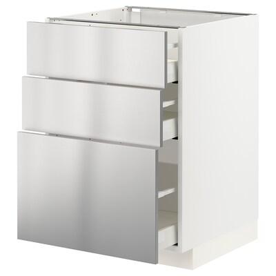 METOD / MAXIMERA alapszekrény+3 fiók fehér/Vårsta rozsdamentes 60.0 cm 61.6 cm 88.0 cm 60.0 cm 80.0 cm