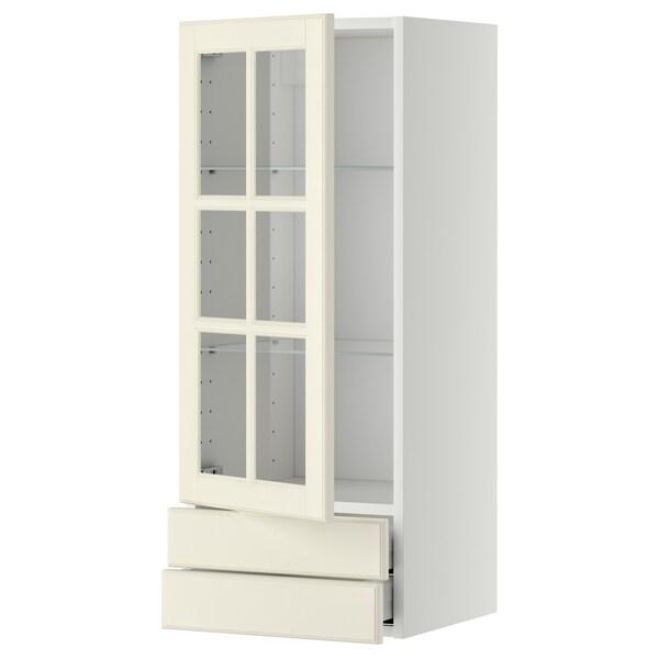METOD / MAXIMERA Faliszekrény+üvegajtó/2 fiók, fehér/Bodbyn törtfehér, 40x100 cm