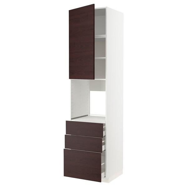 METOD / MAXIMERA Magas szekrény sütőhöz +ajtó/3 fiók, fehér Askersund/sötétbarna kőris hatású, 60x60x240 cm