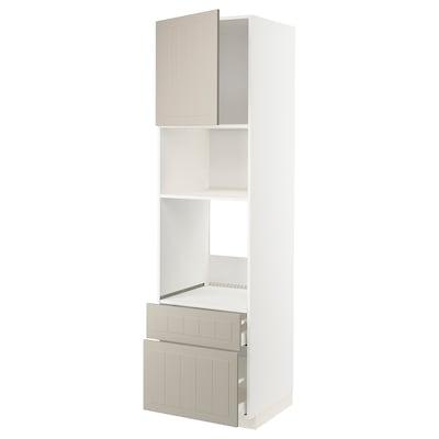 METOD / MAXIMERA Magasszekr sütőh/mikrh+ajtó/2 fiók, fehér/Stensund bézs, 60x60x220 cm