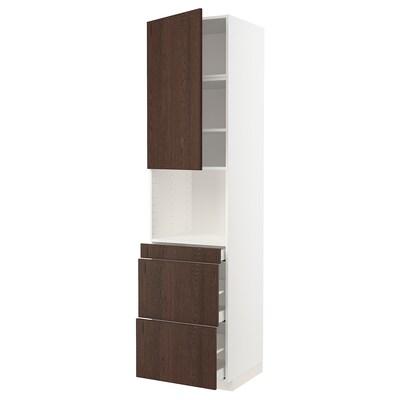 METOD / MAXIMERA Magasszekrény kmb mikrh+ajtó/3 fiók, fehér/Sinarp barna, 60x60x240 cm