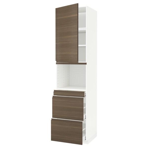 METOD / MAXIMERA Magasszekrény kmb mikrh+ajtó/3 fiók, fehér/Voxtorp dió hat, 60x60x240 cm