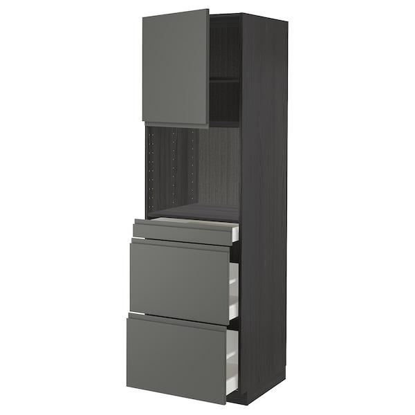 METOD / MAXIMERA Magasszekrény kmb mikrh+ajtó/3 fiók, fekete/Voxtorp sszürke, 60x60x200 cm