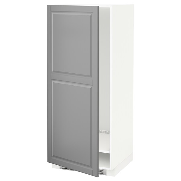 METOD Msz hűt/fagyh, fehér/Bodbyn szürke, 60x60x140 cm
