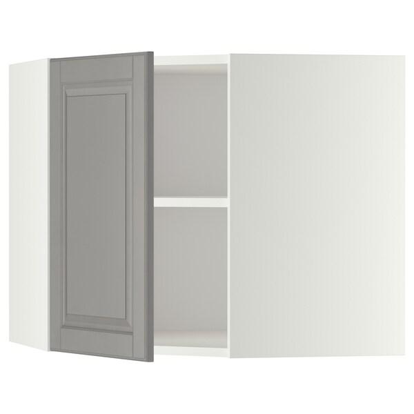 METOD Sarok faliszekrény polcokkal, fehér/Bodbyn szürke, 68x60 cm