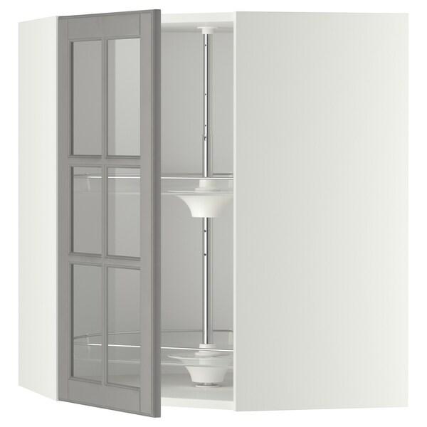METOD Sarokfaliszkr kiforg/üvegajt, fehér/Bodbyn szürke, 68x80 cm