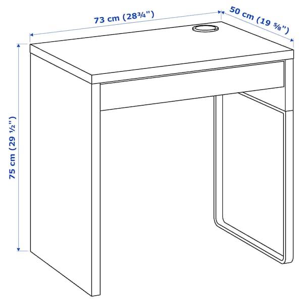 MICKE Íróasztal, fehér, 73x50 cm