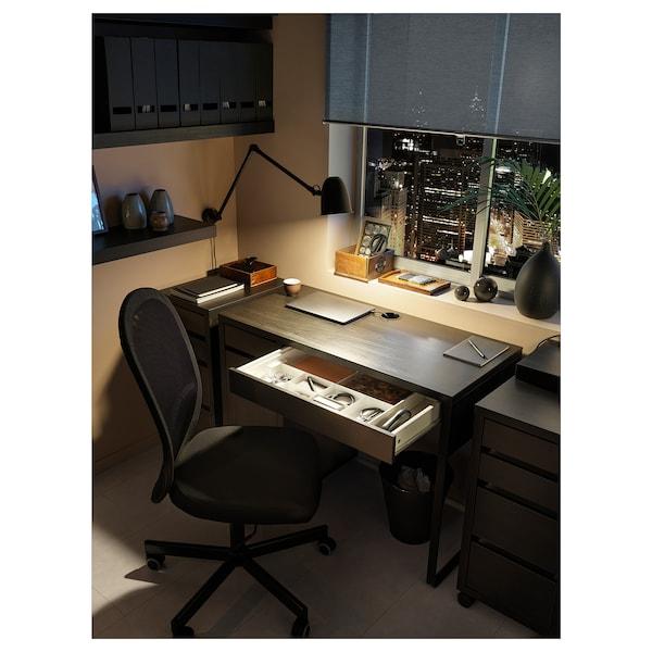 MICKE Íróasztal, fekete-barna, 105x50 cm