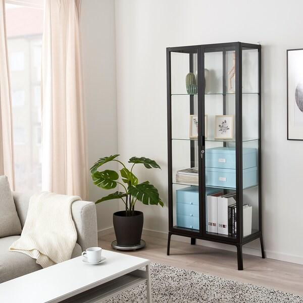 MILSBO Üvegajtós szekrény, antracit, 73x175 cm