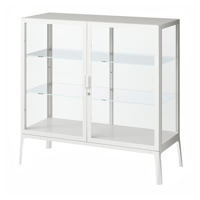 MILSBO Üvegajtós szekrény, fehér, 101x100 cm