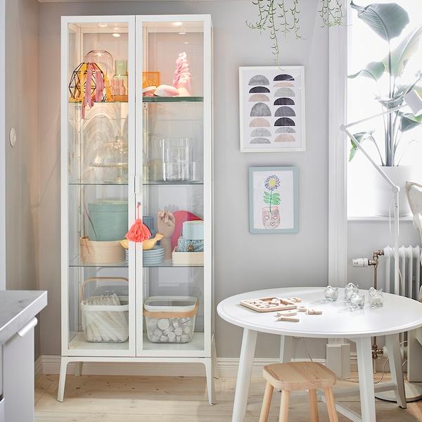 MILSBO Üvegajtós szekrény, fehér, 73x175 cm