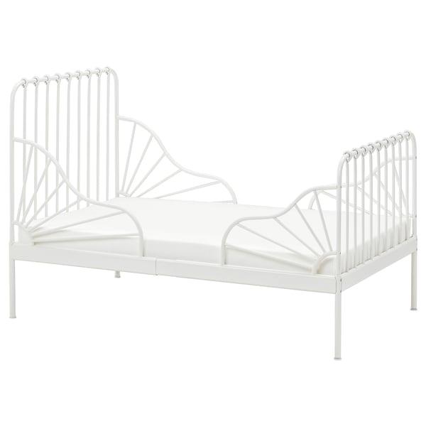 MINNEN Hosszabbítható ágykeret+ágyrács, fehér, 80x200 cm