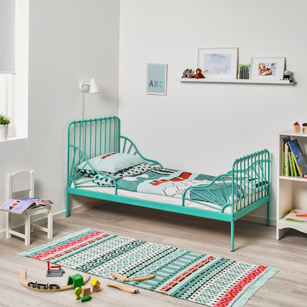 MINNEN Meghosszabbítható ágy, türkiz, 80x200 cm