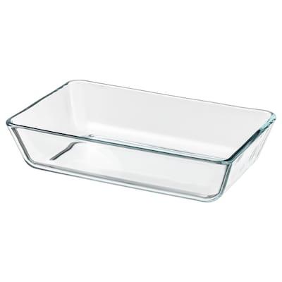 MIXTUR Sütő-/szervírozótál, átlátszó üveg, 27x18 cm