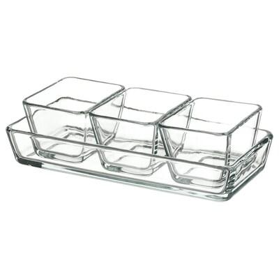 MIXTUR Sütő/tálaló készlet, 4db, átlátszó üveg
