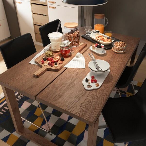 MÖRBYLÅNGA Asztal, tölgy furnér barna pácolt, 140x85 cm
