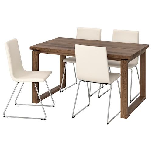 MÖRBYLÅNGA VOLFGANG Asztal és 4 szék barna, Bomstad fehér 140x85 cm