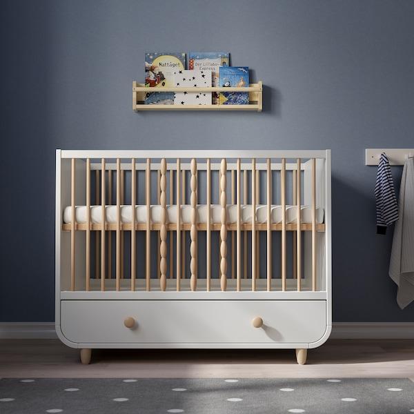 MYLLRA Rácsos ágy fiókkal, fehér, 60x120 cm