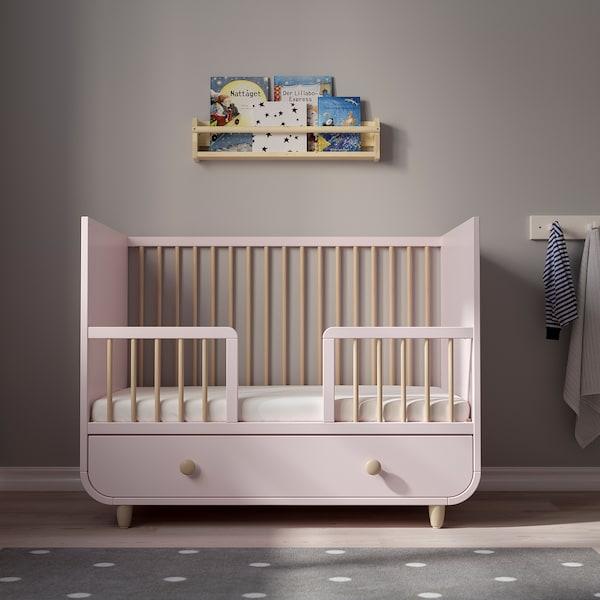 MYLLRA Rácsos ágy fiókkal, halvány rózsaszín, 60x120 cm
