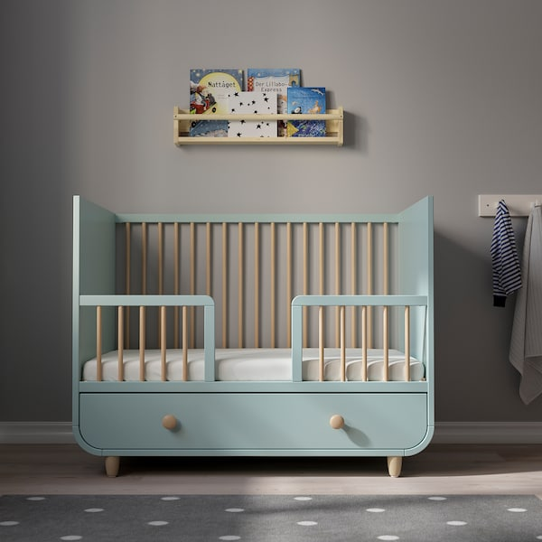 MYLLRA Rácsos ágy fiókkal, világostürkiz, 60x120 cm